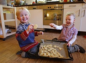 Children Prepare Christmas Cookies