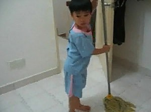 kid mopping