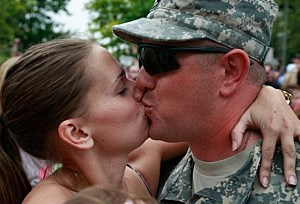 soldier kissing