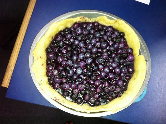 open face blueberry pie