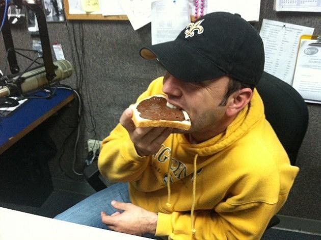Jude Walker Eating Chocolate Bread
