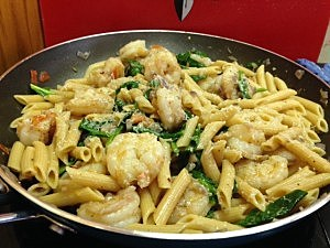 shrimp penne with spinach