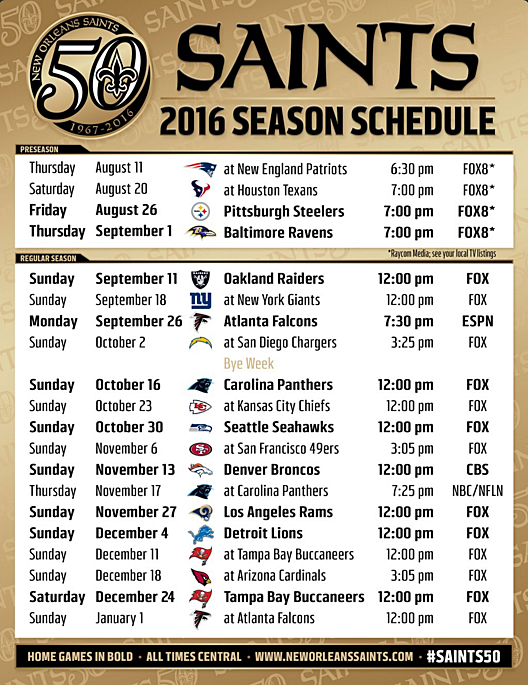 New Orleans Saints 2016 2017 Schedule   Calendar Template 2016