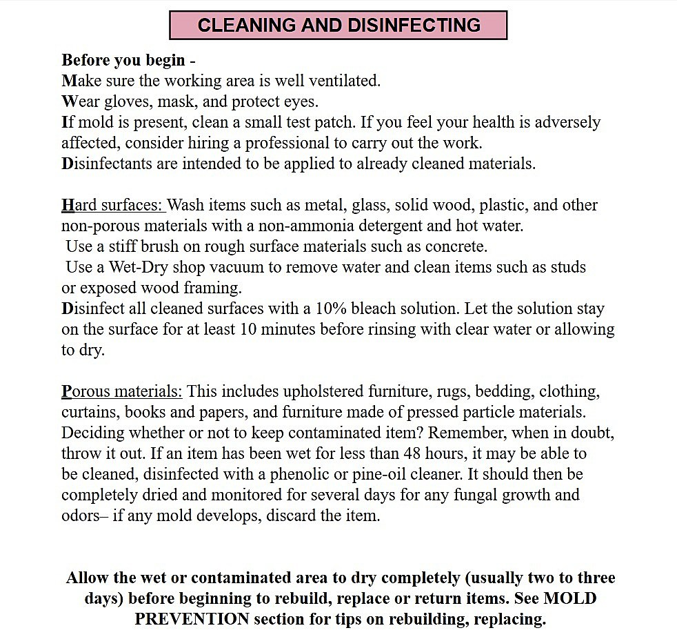 Fema guidelines to get rid of mold and mildew in flooded homes xflitez Gallery